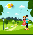 together in city park man and woman in love vector image