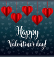 valentines day card with red hearts vector image vector image
