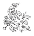 Vintage elegant flowers Black and white vector image vector image
