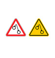 Warning sign arrest attention Dangers yellow sign vector image vector image
