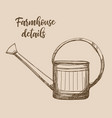watering can vintage hand drawn design vector image