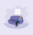 young man with smartphone at the sofa vector image