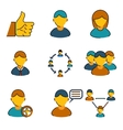 Human resources management business line icons set vector image