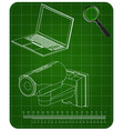 3d model of surveillance camera and laptop vector image vector image