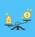 a dollar coin and a house on the scales vector image vector image