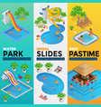 aquapark vertical web banners with different water vector image vector image