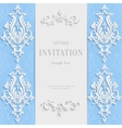 Blue Christmas Vintage Invitation Card with vector image vector image