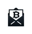 card with bitcoin in envelope vector image