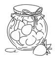 cartoon image of jar of strawberry jam vector image vector image