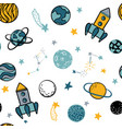childish seamless pattern hand drawn space vector image vector image