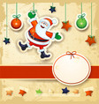 christmas background with happy santa and oval vector image vector image