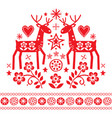 christmas design with reindeer flowers vector image vector image