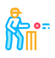 cricket player throwing ball icon outline vector image