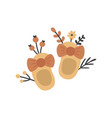 cute baby shoes and flowers