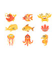 cute cartoon sea creatures marine life vector image vector image