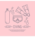 Diving icon with flippers and other equipment vector image