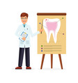 doctor pointing to image with tooth vector image vector image