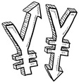 doodle currency up down yen vector image vector image