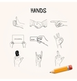 Doodle Hand movements hand drawn icons vector image vector image