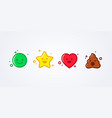 emoticons emoji smiley star heart and shit set vector image vector image