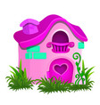 fairy house pink color isolated on white vector image vector image