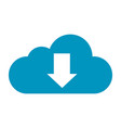 flat color cloud download icon vector image vector image