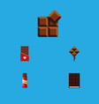 flat icon bitter set of sweet cocoa delicious vector image vector image