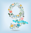 floral number nine with blue ribbon vector image vector image