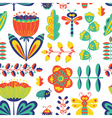 floral seamless pattern with bugs and dragonfly vector image vector image