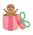 gingerbread man in gift box decoration merry vector image vector image