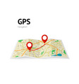 gps navigation the path on the map is indicated vector image vector image