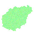 green hexagonal hainan island map vector image vector image