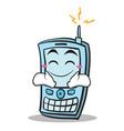 Happy face phone character cartoon style
