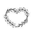 heart decorative floral frame with leaves vector image vector image