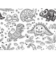 ink dinosaurs in costumes for halloween vector image vector image