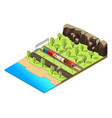 isometric railroad transportation concept vector image vector image