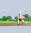 jogging running couple runing in vector image