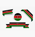kenyan flag stickers and labels vector image