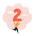 man hold big number 2 vector image vector image