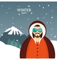 man winter sport with glasses jacket and mountains vector image vector image