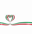 mexican flag heart-shaped ribbon vector image