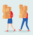people carrying boxes stack cartoon man and woman vector image