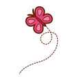 pink flying butterfly cute insect cartoon vector image