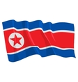 political waving flag of north korea vector image vector image