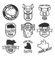 Pork meat labels Pig silhouettes and heads vector image
