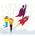 rocket business startup concept flat vector image vector image
