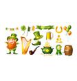 saint patrick day set irish fantastic character vector image