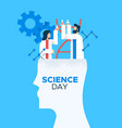 science day card of scientist people working vector image