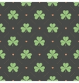 Seamless irish green pattern with clover and heart vector image vector image
