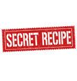 secret recipe grunge rubber stamp vector image